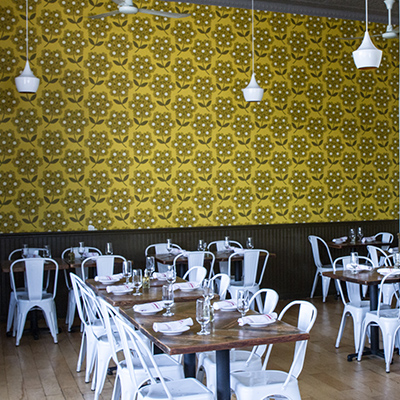 Yellow wallpaper in the Minneapolis restaurant
